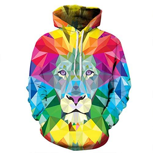 Kapuzenpullover Europäische und amerikanische Modejacke 3D digitaler Schädeldruck Trendy Marke Pullover Pullover Sweatshirt,XL