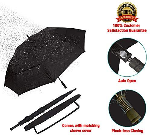 Procella Golf Regenschirm, 157 cm groß, sturmsicher, automatisch zu öffnen, Regen- und Windresistent Golfschirme(Black) - 6