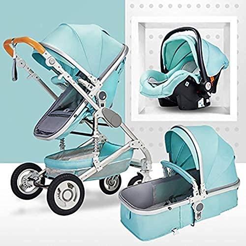 Landaus 3 en 1 Poussette High View Transport Poussette Anti-Shock Baby Basket à Deux Voies du Nouveau-né Travelling bébé Fournitures pour bébé ( Color : Silver Tube-Mint Green )