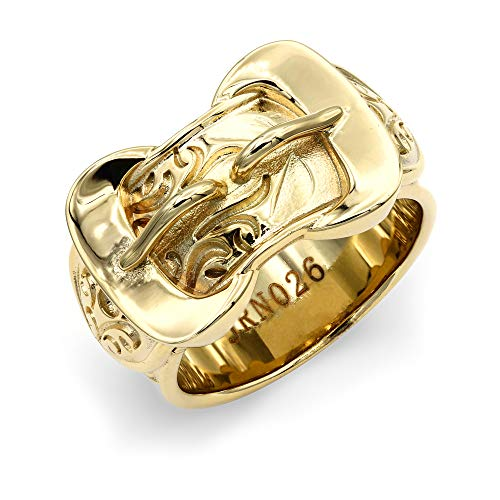 Jewelco London Mens Flash-plated Solid Brass Heavy Weight Double Buckle Ring 16mm Size Z+1