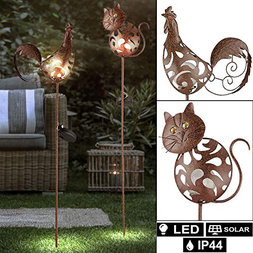 2er Set LED Solar Lampen Katzen Design Garten Strahler rost Hahn Steck Leuchte Crackle Glas
