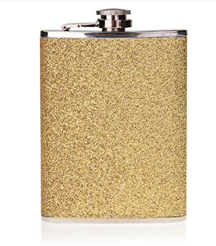 Fiaschetta in acciaio inox da 198,4 g con glitter Wrap (oro)