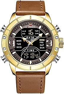 NaviForce Men's Casual Watch Analog-Digital Leather NF9153-12 Brown Gold