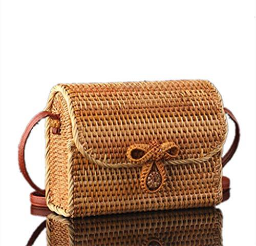 Handmade Ratten Woven Bags Round Handbag Vintage Bohemian style Bags (Cuboid)