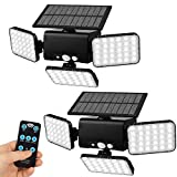 Aqonsie 2-Pack Solar Lights Outdoor, 90LED Outdoor Solar Security Lights, 3 Head 360° Rotatable Solar Motion Sensor Light with Remote Control & 3 Lighting Modes for Garage Porch Garden Path Patio Farm