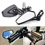 ViZe 7/8'' 22mm Rétroviseurs Moto Embout de Guidon Latéraux Miroir Arrière Universel Miroir Motif Noir-blanc