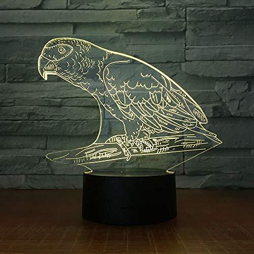 Perroquet Oiseau Veilleuses Stéréo Acrylique Bureau Bar Chambre Émotion Éclairage Éclairage Changement De Couleur Illusion Cadeau d'anniversaire Enfant Jouet