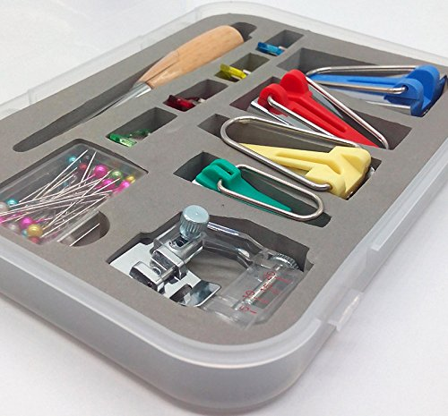 Bias Tape Maker Tool Set with Tape Binding Presser Foot for Patchwork Includes 4 Sizes 6mm/12mm/18mm/25mm