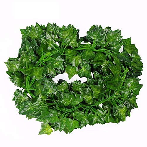 12 Strands Fake Ivy Plant Vine Hanging Garland, Artificial Ivy Leaf Plants Vine for Home Wall Kitchen Garden Office Wedding Party Room Decor Privacy Screen, 2.1m