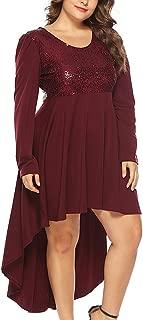 Women's Skirts O Neck Plus Size Sequin Long Sleeve High Waist Dovetail Party Mini Dress Slim Fit Dress