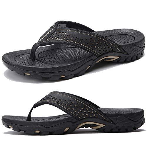 KIIU Mens Flip Flop Indoor and Outdoor Thong Sandals Beach Slippers Black, 43