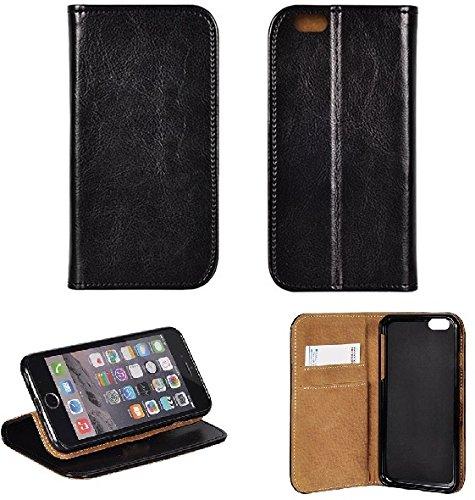 BRALEXX Elegante Echt Ledertasche mit Aufstellfunktion & 2X Kartenfach, R&umschutz durch Silikon-Innenschale schwarz (Samsung Galaxy S8)
