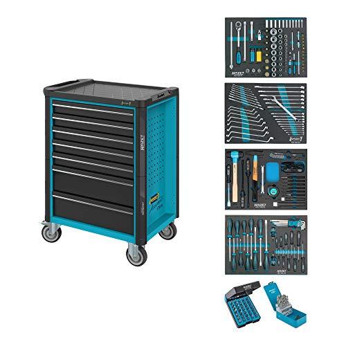 HAZET Werkstattwagen Assistent 179N-7/220 ∙ Schubladen flach: 5x 77x522x398 mm ∙ Schubladen hoch: 2x 162x522x398 mm