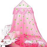 Mosquiteras para Cama para Niñas con Estrellas Luna Fluorescentes,Princesa Cúpula Dosel de Cama Regalo para Niños Dormitorio Decorativa