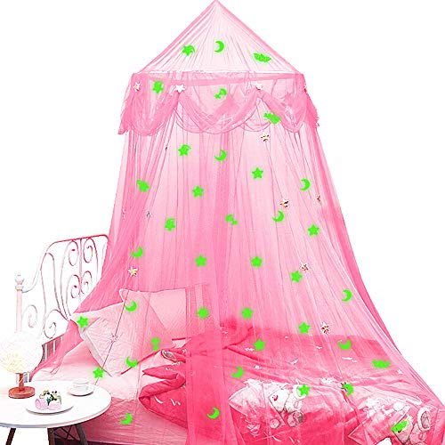 Bed Canopy for Girls with Stars and Moons Glow in The Dark, Princess Dome Mosquito Net Birthday Gifts for Kids Bedroom Decor Pink