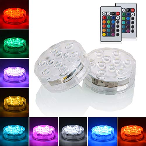 Idubai 10 Pack Small Submersible LED Lights with Remote, Battery Operated Color Changing LED...