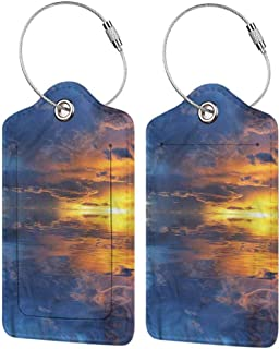 Luggage Suitcase Tag, Luggage ID Tag, Full Back Privacy Cover Nature Broken Sky Horizon Water (1,2 & 4 Pack)
