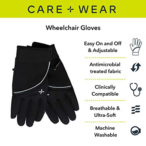Care+Wear Wheelchair Gloves for Men and Women, Comfortable fit with Palm Pads
