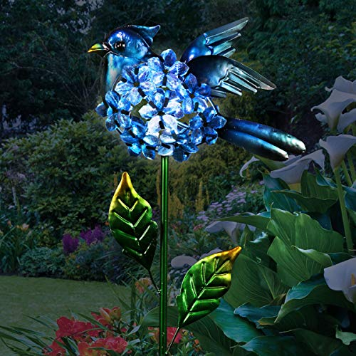 """Exhart Solar Blue Jay Bird w/Flower Body Garden Stake 