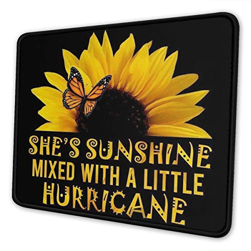 Butterfly and Sunflower She is Sunshine Design Floral Gaming Mouse Pad Mat Mousepad Desk Pad Non-Slip Rubber Gaming Mousepad Rectangle Mouse Pads for Computers Laptop Rubber Mice Pads Stitched Edges
