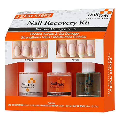 Nail Tek Nail Recovery Kit, Cuticle Oil, Strengthener, Ridge Filler - restore damaged nails in 3...