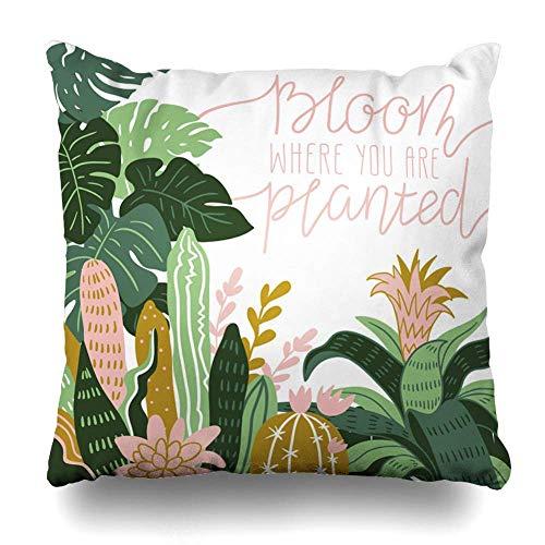 Egoa Pillowcase met de hand getekend decor geplant poster wild tropical Concept huis potplanten natuur textuur druk ziekenhuisvakantie kussensloop 45 x 45 cm decoratieve kussensloop K