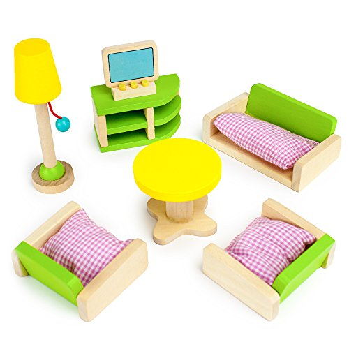 Imagination Generation Luxurious Living Room Set, 10 Pieces - Wooden Doll House Accessories Bundle - Miniature Furniture for Girls - Sofa, Chairs, Table, TV, & Lamp Toys for Kids