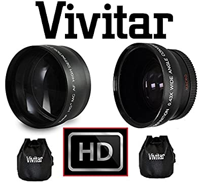 HD Wide Angle & 2.2X TELEPHOTO Lens Set for Canon VIXIA HF M50 by - Vivitar