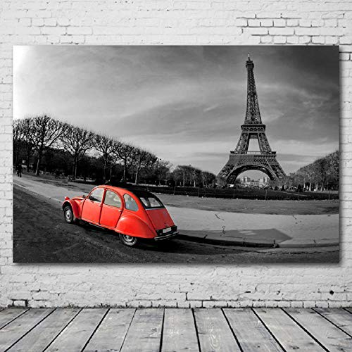 HHXX9 Black and White Paris Old Car Wallpapers Posters and Prints Canvas Wall Art Paintings for Living Room Decor -60X80cm 24x32 inch no Frame
