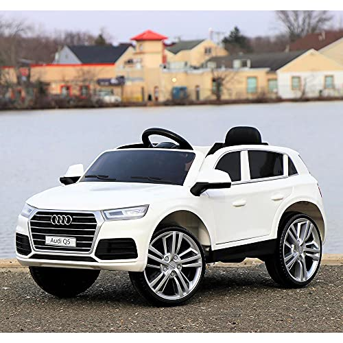 First Drive Audi Q5 Kids Electric Ride On Toy Sports Car for Kids Ages 3-6 Years with Remote Control, Headlights, Aux Cord, and Horn, White