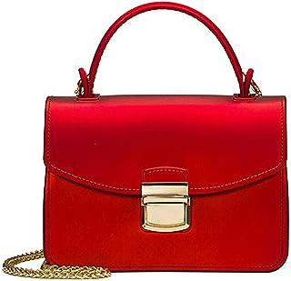 Sling Bag Fashion Women's Genuine Leather Handbag Jelly Crossbody Women Tote Handbags Women's Messenger Bag KAVU Bag (Color : Red)
