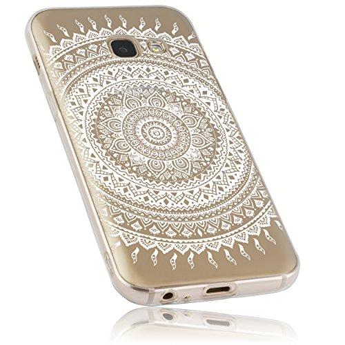 mumbi Hülle kompatibel mit Samsung Galaxy A3 2017 Handy Hülle Handyhülle mit Motiv Mandala weiss, transparent, mumbi_24931