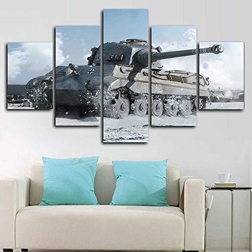 runtooer Bilder Dekorative malerei Spray malerei leinwand malerei 5 stück Tiger Ii 2. Weltkrieg Panzer Leinwand Wandbild, Möbel Art Deco, Rahmen