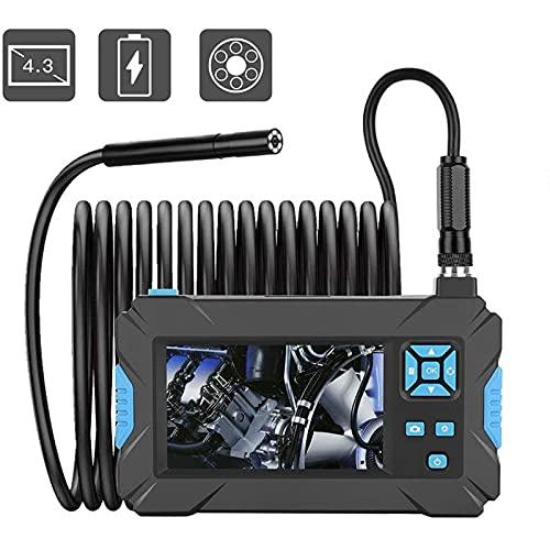 HFFSGS Endoscopio Industrial, cámara de inspección de borroscopio Digital de 1080p HD a Prueba de Agua 4.3'Cámara de Serpiente de Pantalla LCD, 6 Luces LED Ajustables, Cable semirrígido
