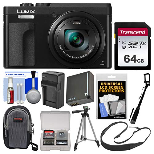 Price comparison product image Panasonic Lumix DC-ZS70 4K Wi-Fi Digital Camera (Black) with 64GB Card + Case + Battery & Charger + Selfie Stick + Tripod + Strap + Kit