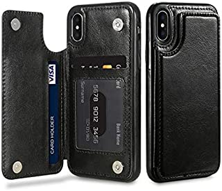 Vertical Flip Card Holder Leather Phone Case for iPhone Xs-Black