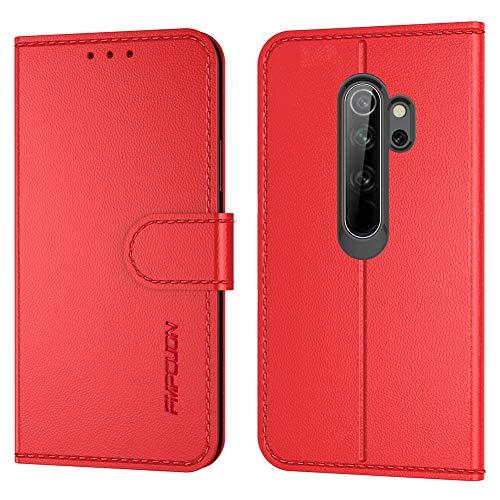 FMPCUON Handyhülle Kompatibel mit Xiaomi Redmi Note 8 Pro(Neueste),Premium Leder Flip Schutzhülle Tasche Hülle Brieftasche Etui Hülle für Xiaomi Redmi Note 8 Pro(6,53 Zoll),Rot