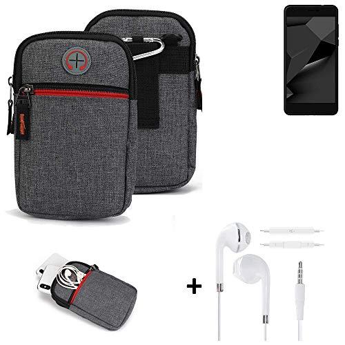 K-S-Trade® Gürtel-Tasche + Kopfhörer Für Blaupunkt SL Plus 02 Handy-Tasche Schutz-hülle Grau Zusatzfächer 1x