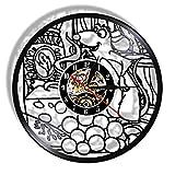 ZFANGY Reloj de Pared con Disco de Vinilo Ratatouille Ratatouille Vintage 12'Reloj de Cocina...