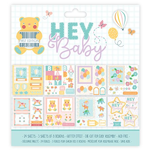 "First Edition 2018 - Material de papelería de Paper Collections, Colección Hey Baby, papel, multicolor, 8x8"" Decoupage Pad"