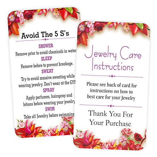"""Jewelry Care Instruction Cards - (Pack of 100) 3.5"""" x 2"""" Thank You Package Insert for Jewelry Cleaning Customer Directions"""