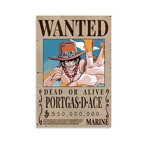 CANCUI Anime One Piece Ace Kopfgeld gesucht Poster,deko Poster dekorative Malerei Leinwand Wandkunst Wohnzimmer Poster Schlafzimmer Malerei 08x12inch(20x30cm)