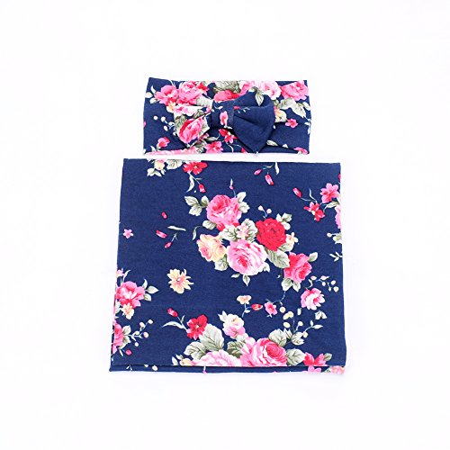 Galabloomer Newborn Receiving Blanket Headband Set Flower Print Baby Swaddle Receiving Blankets Navy Blue