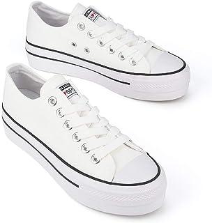 JENN ARDOR Comfortable Women's Platform Low Top Sneakers Lace Up Casual Canvas Shoes Walking Flats for Women