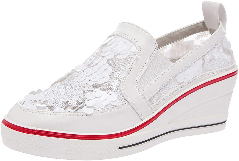 Amropi Women's Sequins Wedge Heel Slip On Casual Fashion Sneakers