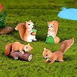 KEKOL 4 unids/Set adorables Adornos de Ardilla en Miniatura Modelo Familiar Figuras de Animales de Dibujos Animados Accesorios de terrario casa de muñecas Pastel decoración del hogar