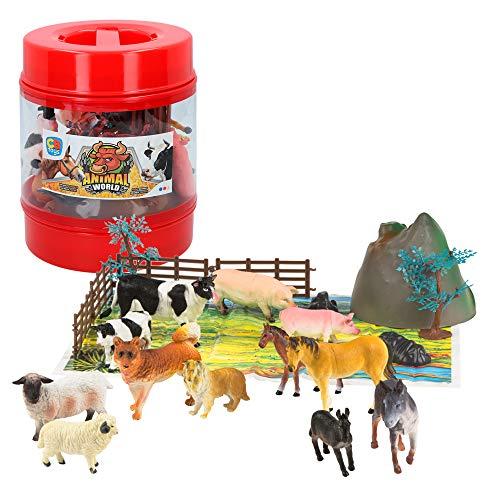 ColorBaby - Bote con animales de granja de Animal World - 21 piezas