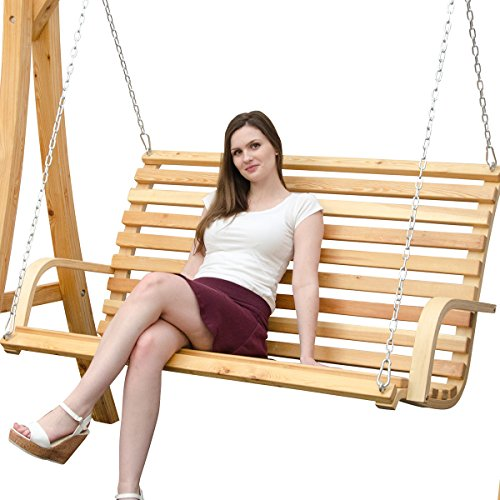 Hollywoodschaukel aus Holz Lärche Gartenschaukel Set Holzgestell mit 3-sitzer Holzbank Für Innen und Außen - 8