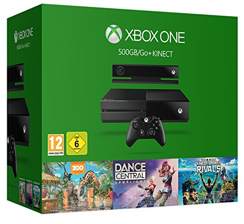 Xbox One 500GB Console with Kinect - 3 Game Value Bundle (Kinect Sports Rivals, Zoo Tycoon and Dance Central) - [Edizione: Regno Unito]