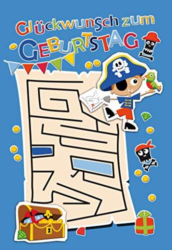 Geburtstagskarte, Kindergeburtstag, Geburtstagskarte Pirat, im Format DIN B6 176 x 125 mm, Klappkarte inkl. Umschlag, Motiv: Pirat